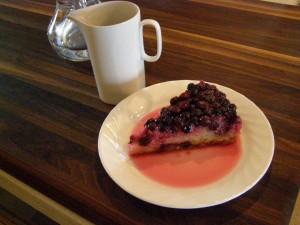 Gâteau renversé aux bleuets avec du Verjus