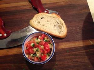 Salade de légumes avec vinaigrette au Verjus
